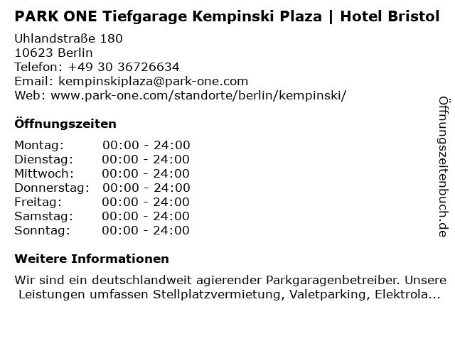 PARK ONE Tiefgarage Kempinski Plaza   Hotel Bristol in Berlin: Adresse und Öffnungszeiten