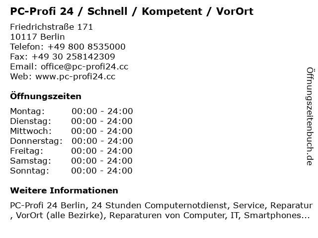 PC-Profi 24 / Schnell / Kompetent / VorOrt in Berlin: Adresse und Öffnungszeiten