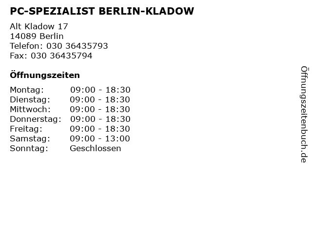PC-SPEZIALIST BERLIN-KLADOW in Berlin: Adresse und Öffnungszeiten