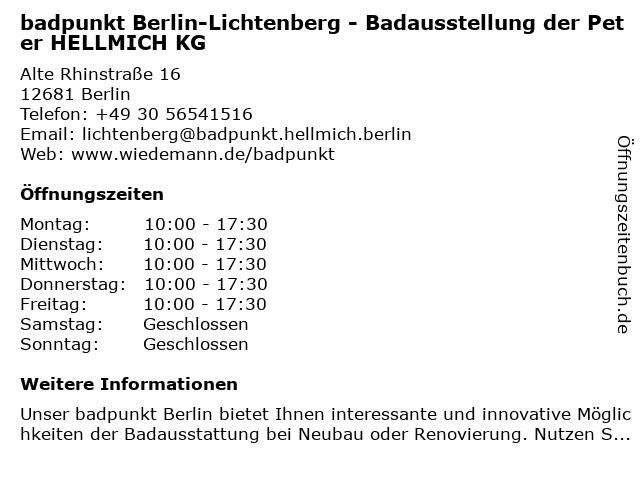 Peter Hellmich KG Sanitär- und Heizungshandel Abhollager & Verkaufsbüro in Berlin: Adresse und Öffnungszeiten