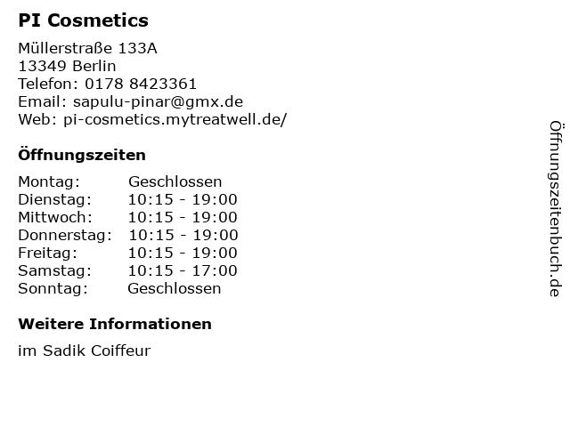 PI Cosmetics in Berlin: Adresse und Öffnungszeiten