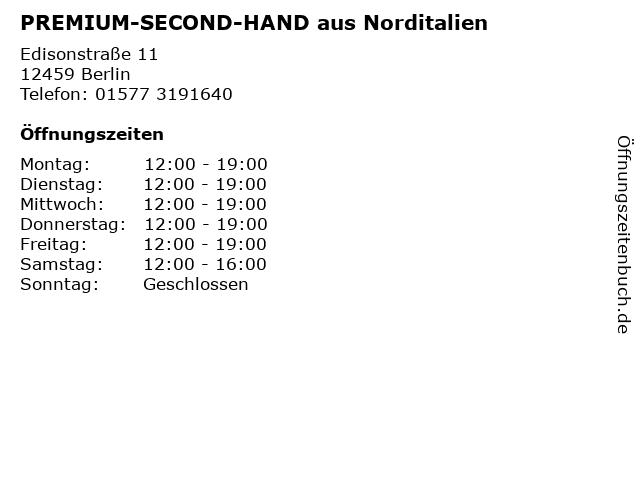 PREMIUM-SECOND-HAND aus Norditalien in Berlin: Adresse und Öffnungszeiten