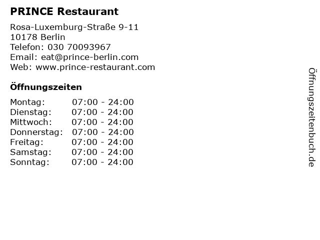 PRINCE Restaurant in Berlin: Adresse und Öffnungszeiten