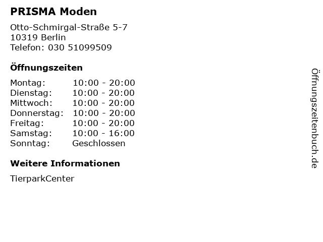 PRISMA Moden in Berlin: Adresse und Öffnungszeiten