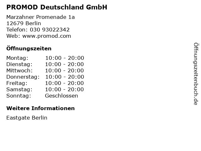 PROMOD Deutschland GmbH in Berlin: Adresse und Öffnungszeiten