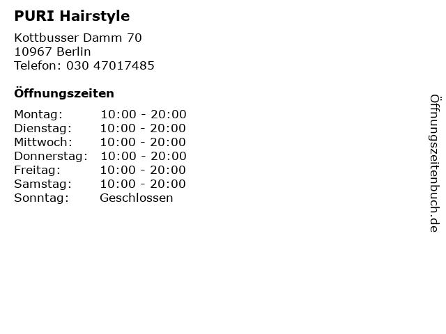 PURI Hairstyle in Berlin: Adresse und Öffnungszeiten
