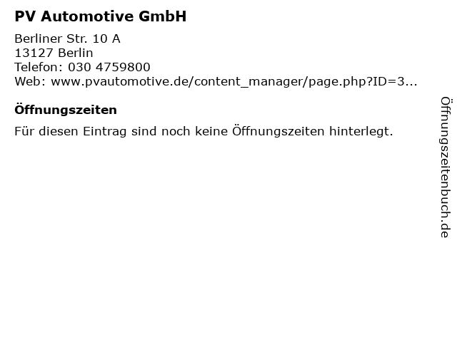 PV Automotive GmbH in Berlin: Adresse und Öffnungszeiten