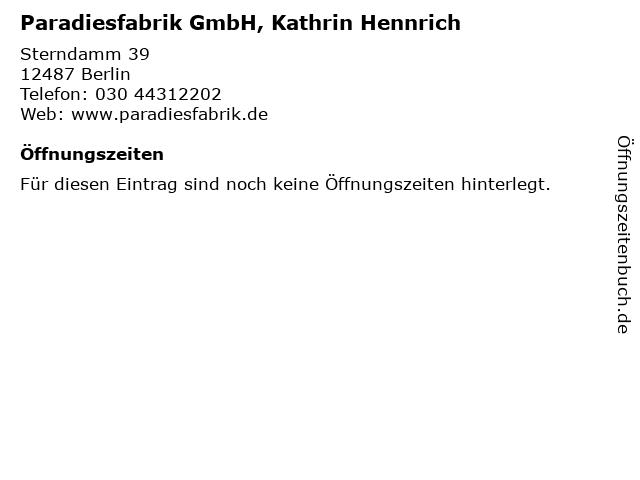 Paradiesfabrik GmbH, Kathrin Hennrich in Berlin: Adresse und Öffnungszeiten