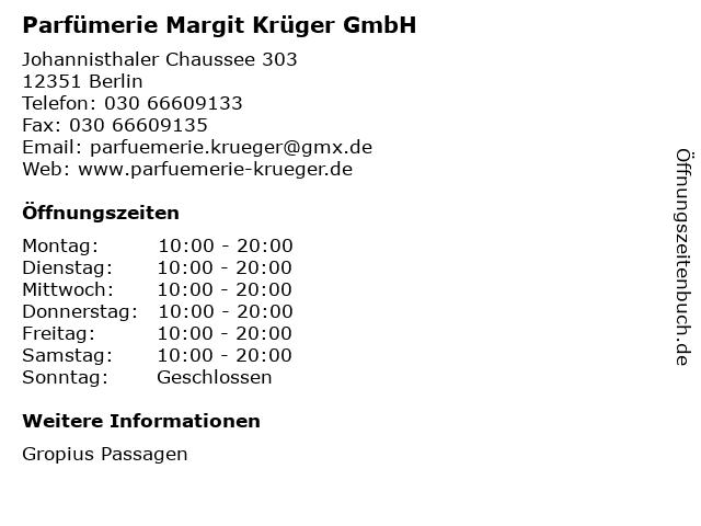 Parfümerie Margit Krüger GmbH in Berlin: Adresse und Öffnungszeiten