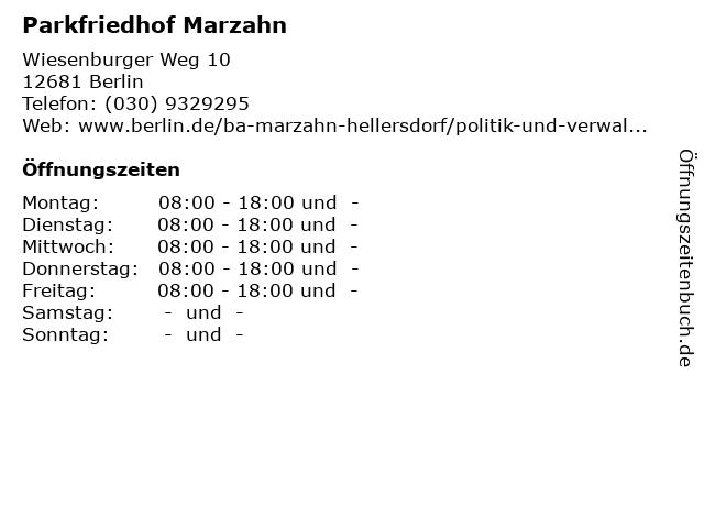 Parkfriedhof Marzahn in Berlin: Adresse und Öffnungszeiten