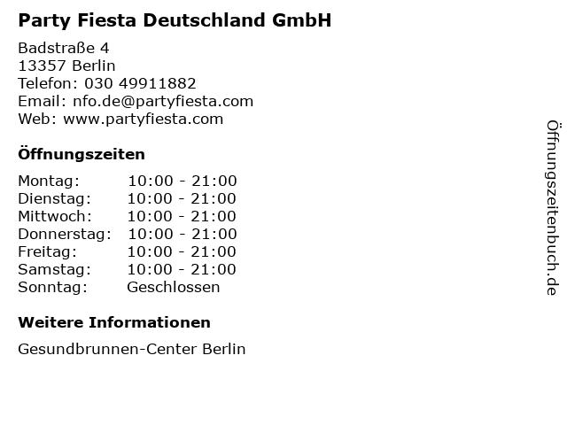 Party Fiesta Deutschland GmbH in Berlin: Adresse und Öffnungszeiten