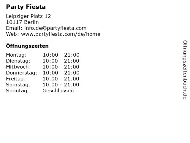 Party Fiesta in Berlin: Adresse und Öffnungszeiten