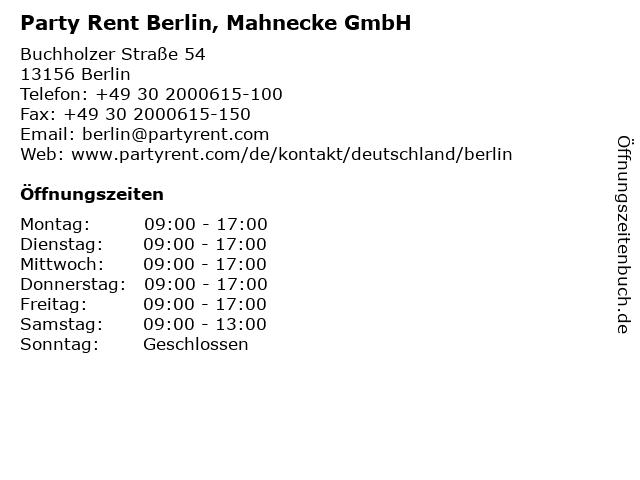 Party Rent Berlin, Mahnecke GmbH in Berlin: Adresse und Öffnungszeiten