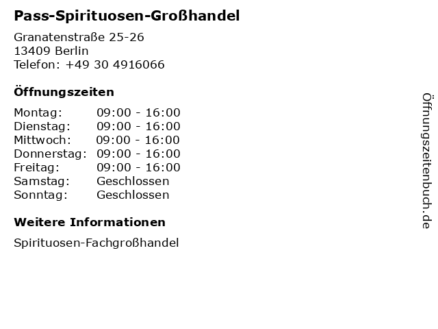 Pass-Spirituosen-Großhandel in Berlin: Adresse und Öffnungszeiten