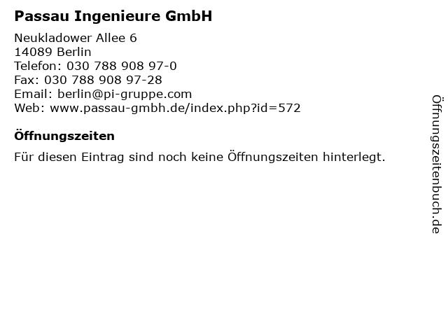 Passau Ingenieure GmbH in Berlin: Adresse und Öffnungszeiten