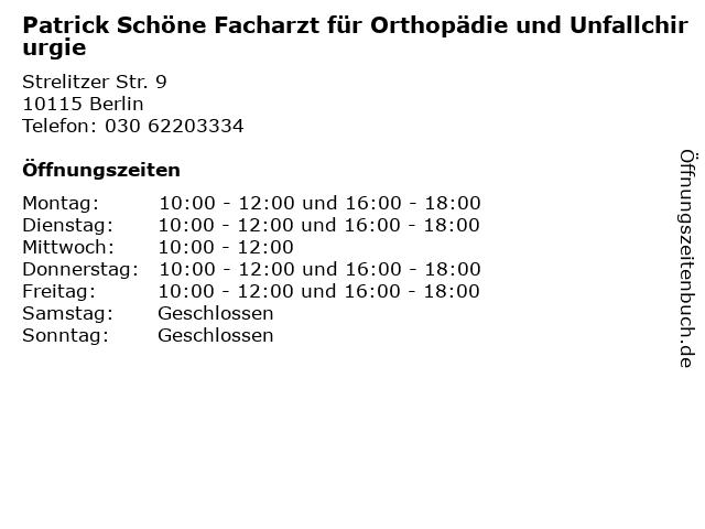Patrick Schöne Facharzt für Orthopädie und Unfallchirurgie in Berlin: Adresse und Öffnungszeiten