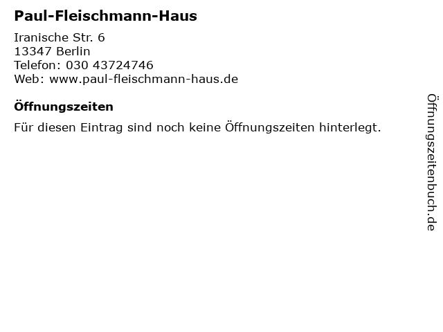 Paul-Fleischmann-Haus in Berlin: Adresse und Öffnungszeiten