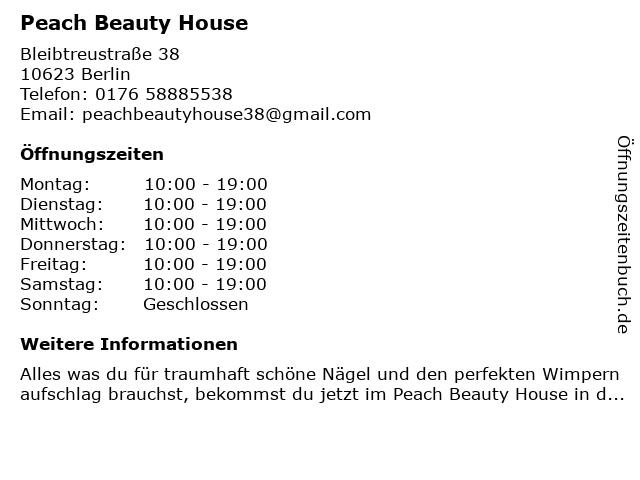 Peach Beauty House in Berlin: Adresse und Öffnungszeiten