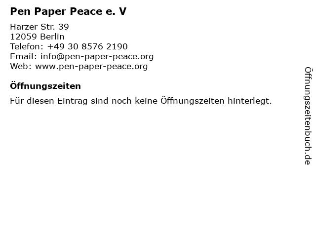Pen Paper Peace e. V in Berlin: Adresse und Öffnungszeiten