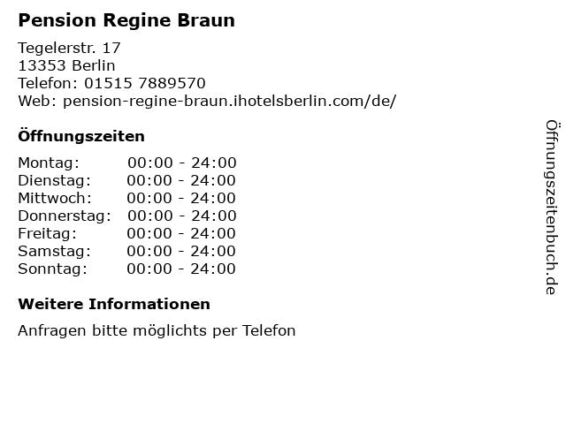 Pension Regine Braun in Berlin: Adresse und Öffnungszeiten