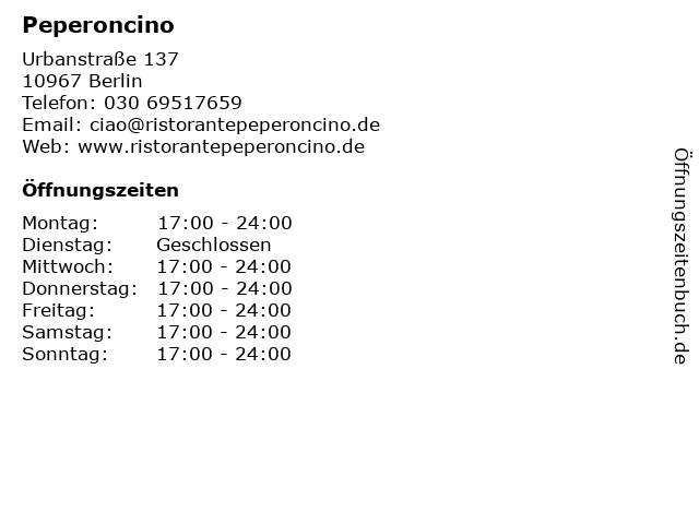 Peperoncino in Berlin: Adresse und Öffnungszeiten