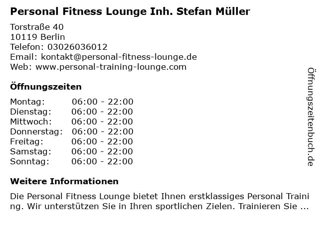 Personal Fitness Lounge Inh. Stefan Müller in Berlin: Adresse und Öffnungszeiten