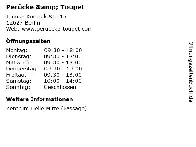 Perücke & Toupet in Berlin: Adresse und Öffnungszeiten