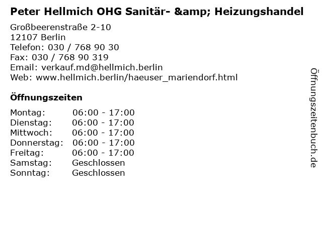 Peter Hellmich OHG Sanitär- & Heizungshandel in Berlin: Adresse und Öffnungszeiten