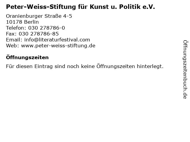 Peter-Weiss-Stiftung für Kunst u. Politik e.V. in Berlin: Adresse und Öffnungszeiten