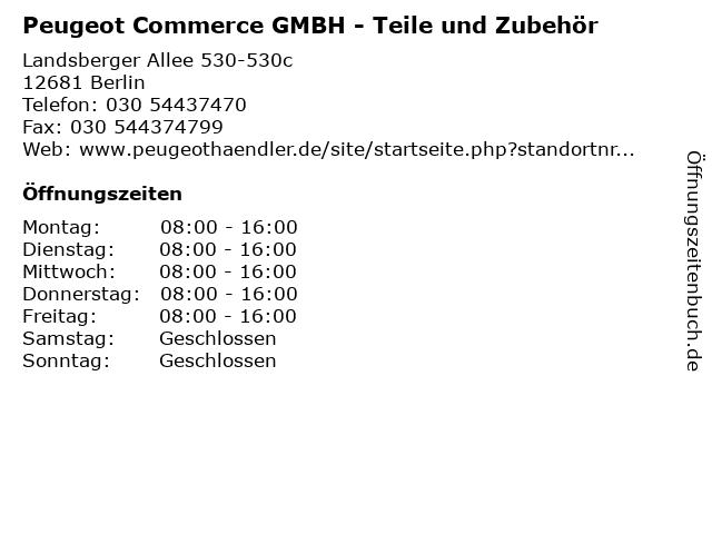 Peugeot Commerce GMBH - Teile und Zubehör in Berlin: Adresse und Öffnungszeiten