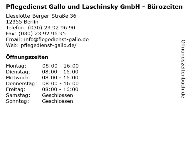 Pflegedienst Gallo und Laschinsky GmbH - Bürozeiten in Berlin: Adresse und Öffnungszeiten