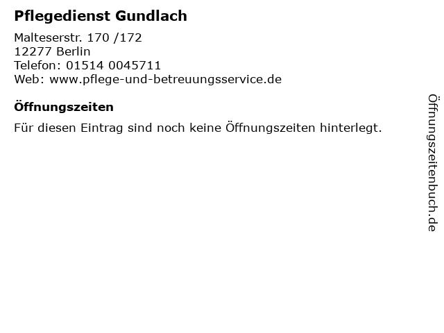 Pflegedienst Gundlach in Berlin: Adresse und Öffnungszeiten