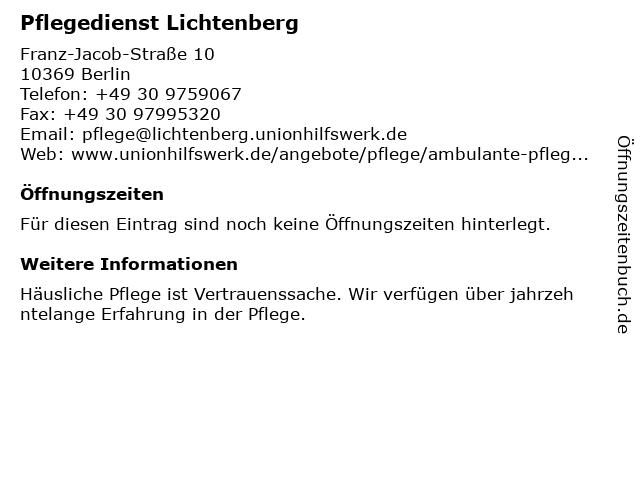 Pflegedienst Lichtenberg in Berlin: Adresse und Öffnungszeiten