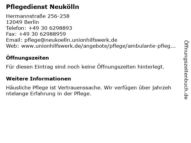 Pflegedienst Neukölln in Berlin: Adresse und Öffnungszeiten