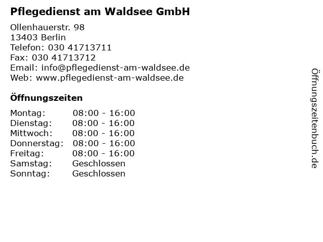 Pflegedienst am Waldsee GmbH in Berlin: Adresse und Öffnungszeiten
