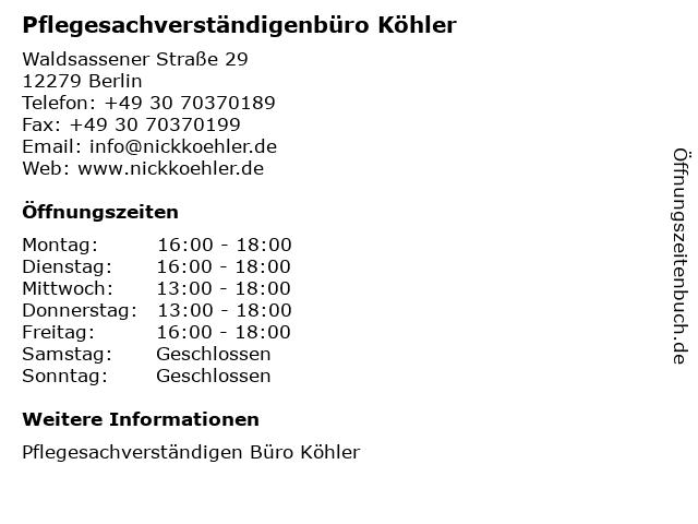 Pflegesachverständigenbüro Köhler in Berlin: Adresse und Öffnungszeiten