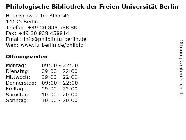 Philologische Bibliothek der Freien Universität Berlin in Berlin: Adresse und Öffnungszeiten