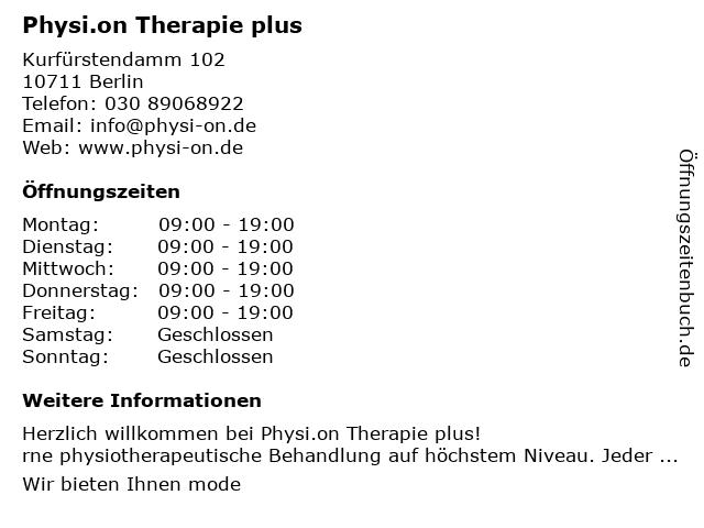 Physi.on Therapie plus in Berlin: Adresse und Öffnungszeiten