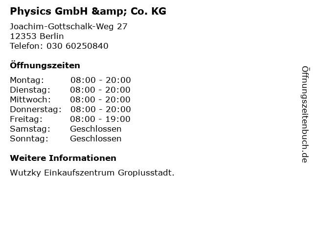Physics GmbH & Co. KG in Berlin: Adresse und Öffnungszeiten