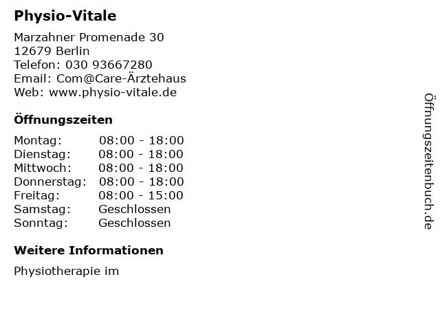 Physio-Vitale in Berlin: Adresse und Öffnungszeiten
