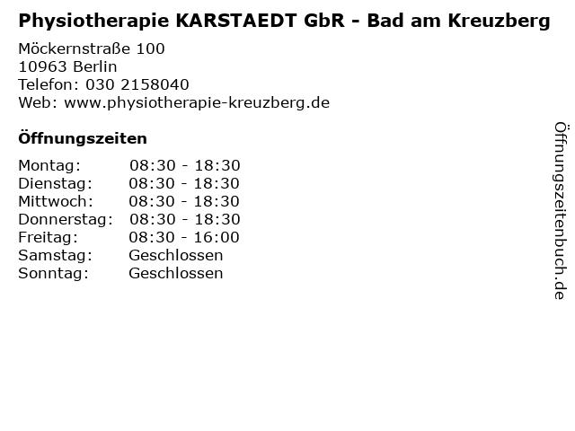 Physiotherapie KARSTAEDT GbR - Bad am Kreuzberg in Berlin: Adresse und Öffnungszeiten