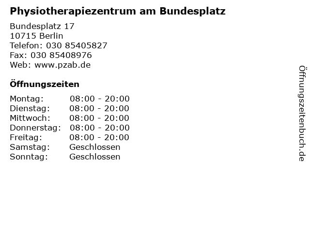 Physiotherapiezentrum am Bundesplatz in Berlin: Adresse und Öffnungszeiten