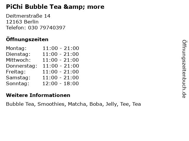 PiChi Bubble Tea & more in Berlin: Adresse und Öffnungszeiten