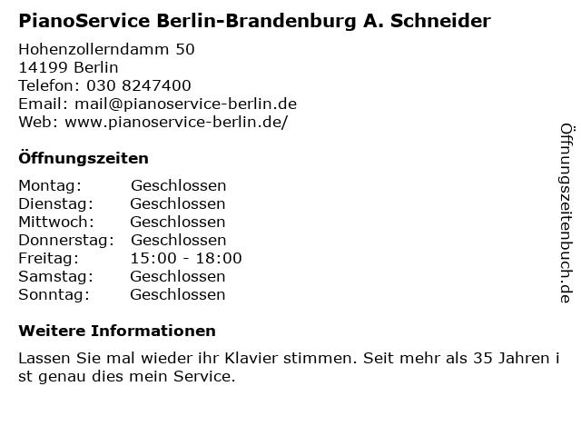 PianoService Berlin-Brandenburg A. Schneider in Berlin: Adresse und Öffnungszeiten