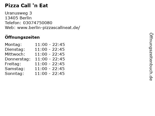 Pizza Call 'n Eat in Berlin: Adresse und Öffnungszeiten