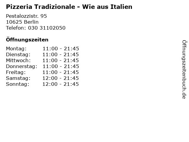 Pizzeria Tradizionale - Wie aus Italien in Berlin: Adresse und Öffnungszeiten