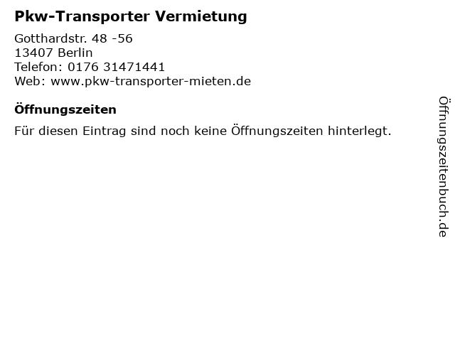 Pkw-Transporter Vermietung in Berlin: Adresse und Öffnungszeiten