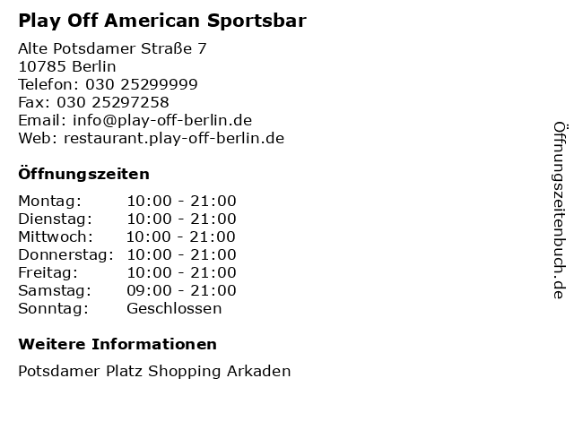 Play Off American Sportsbar in Berlin: Adresse und Öffnungszeiten