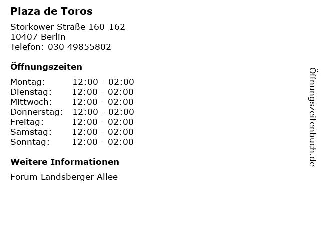 Plaza de Toros in Berlin: Adresse und Öffnungszeiten