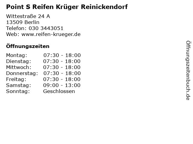 Point S Reifen Krüger Reinickendorf in Berlin: Adresse und Öffnungszeiten